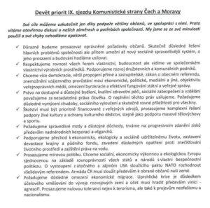 9. priorit IX. sjezdu KSČM