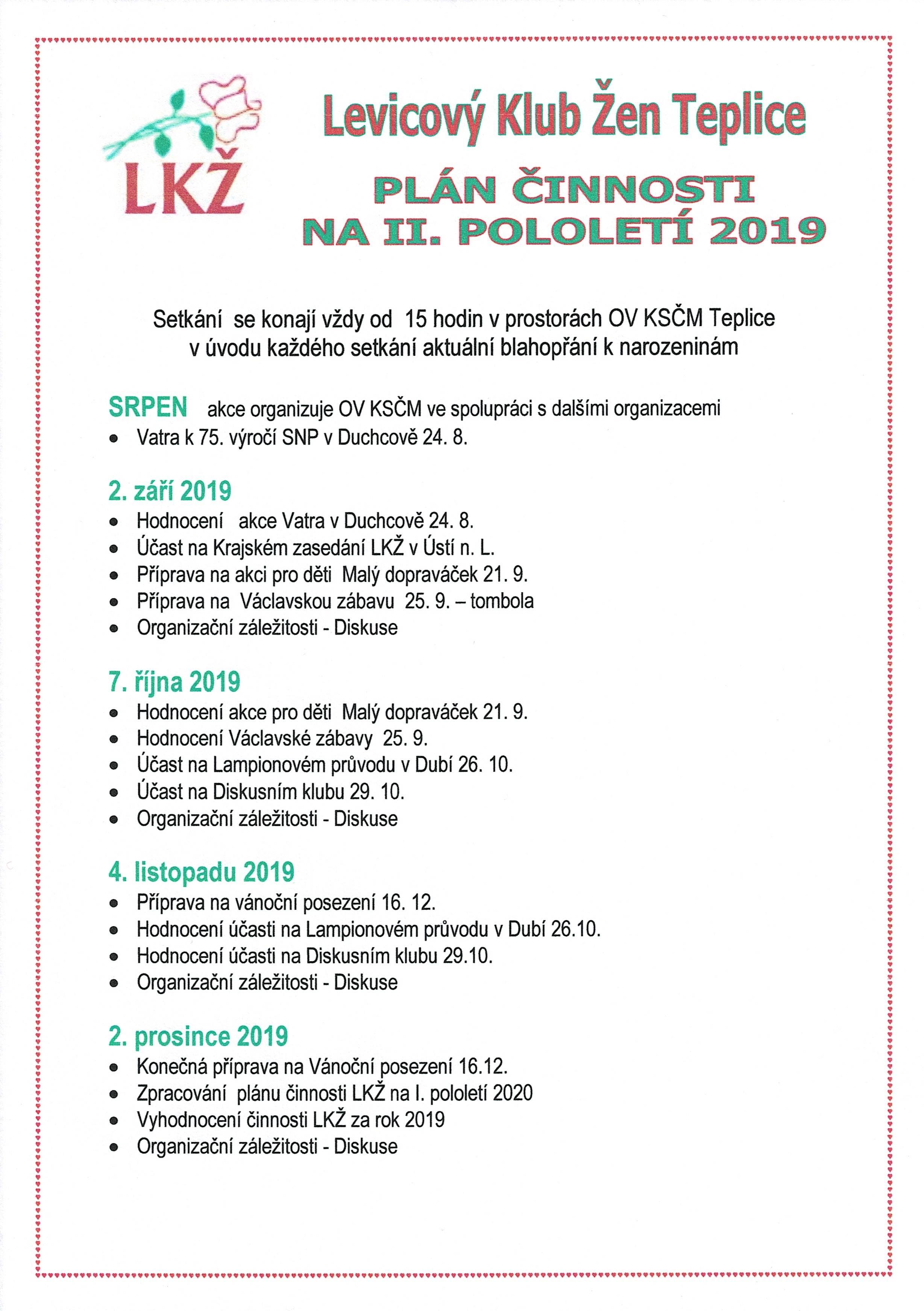 LKŽ PLÁN 2. POLOLETÍ 2019